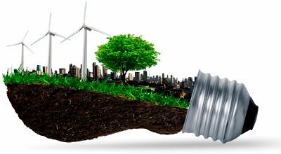 Image: a wind farm inside of a light bulb