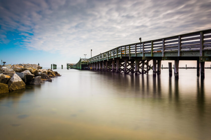 Image: Fishing pier and jetty in Chesapeake Beach, Maryland.