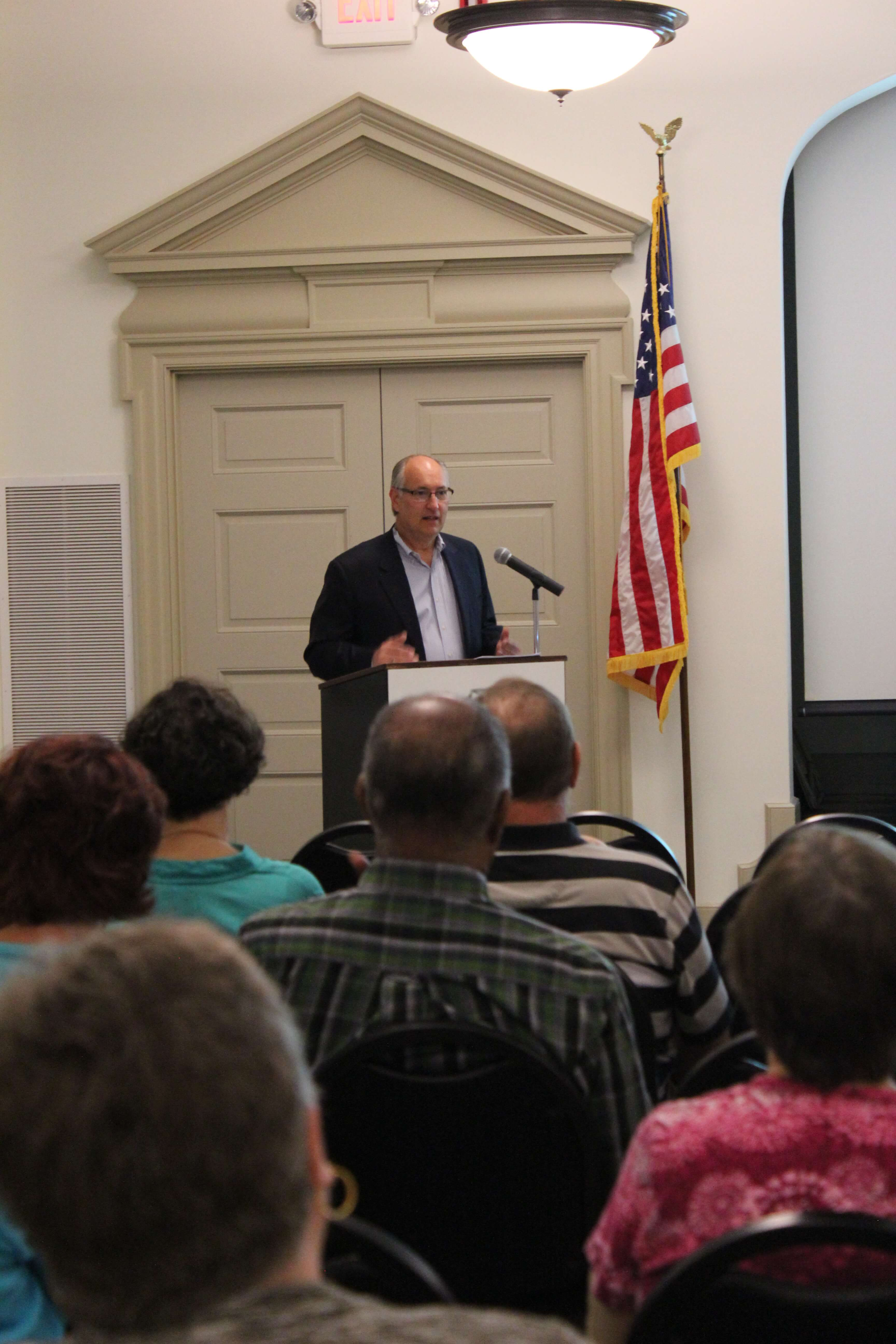 Image: Attorney Hershner speaking to a group at the York County History Center
