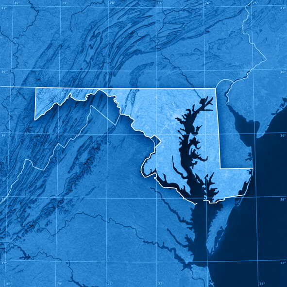 Image: a topographical map of Maryland and the Chesapeake Bay