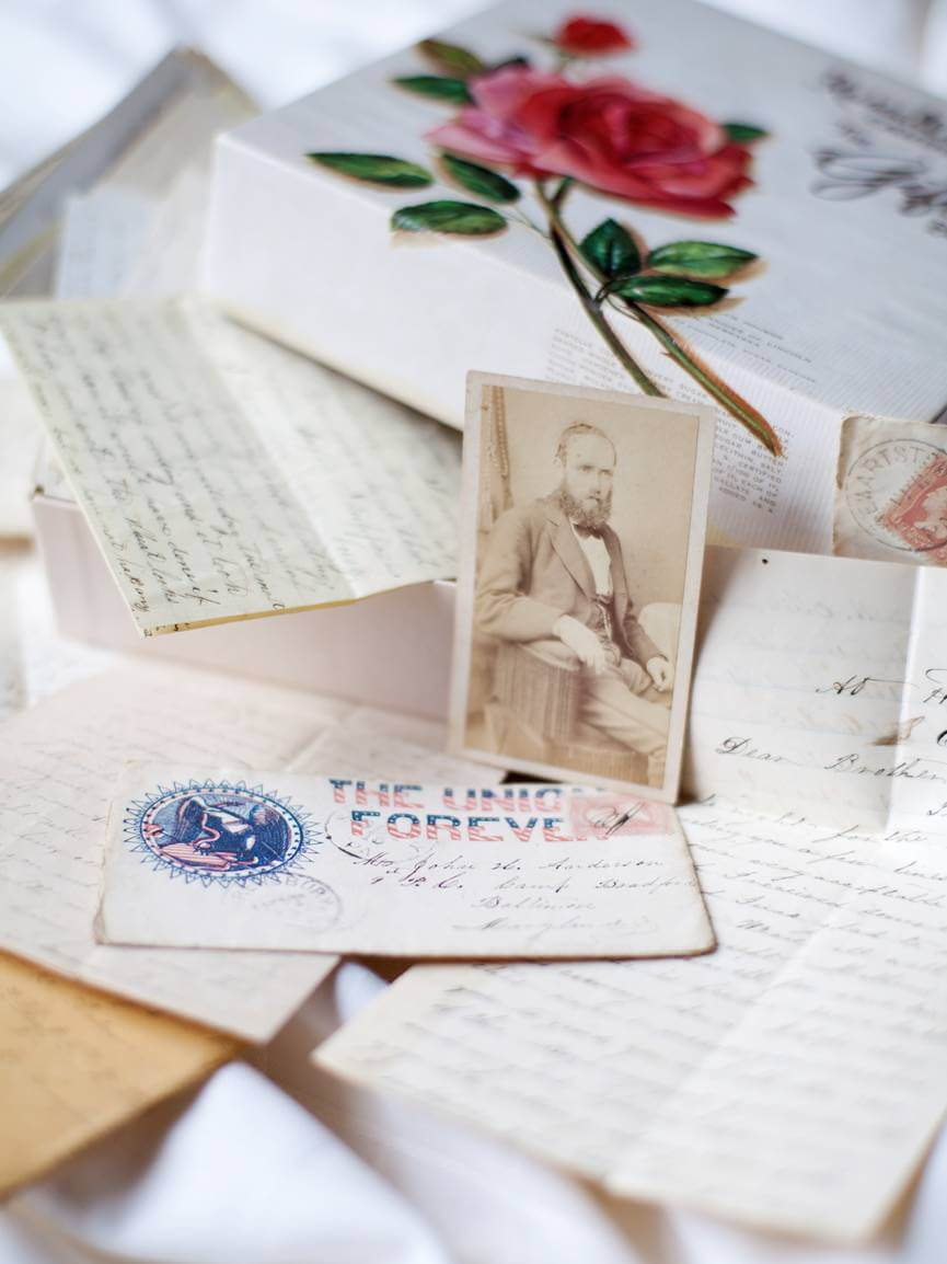 Image: a box of old letters and photographs