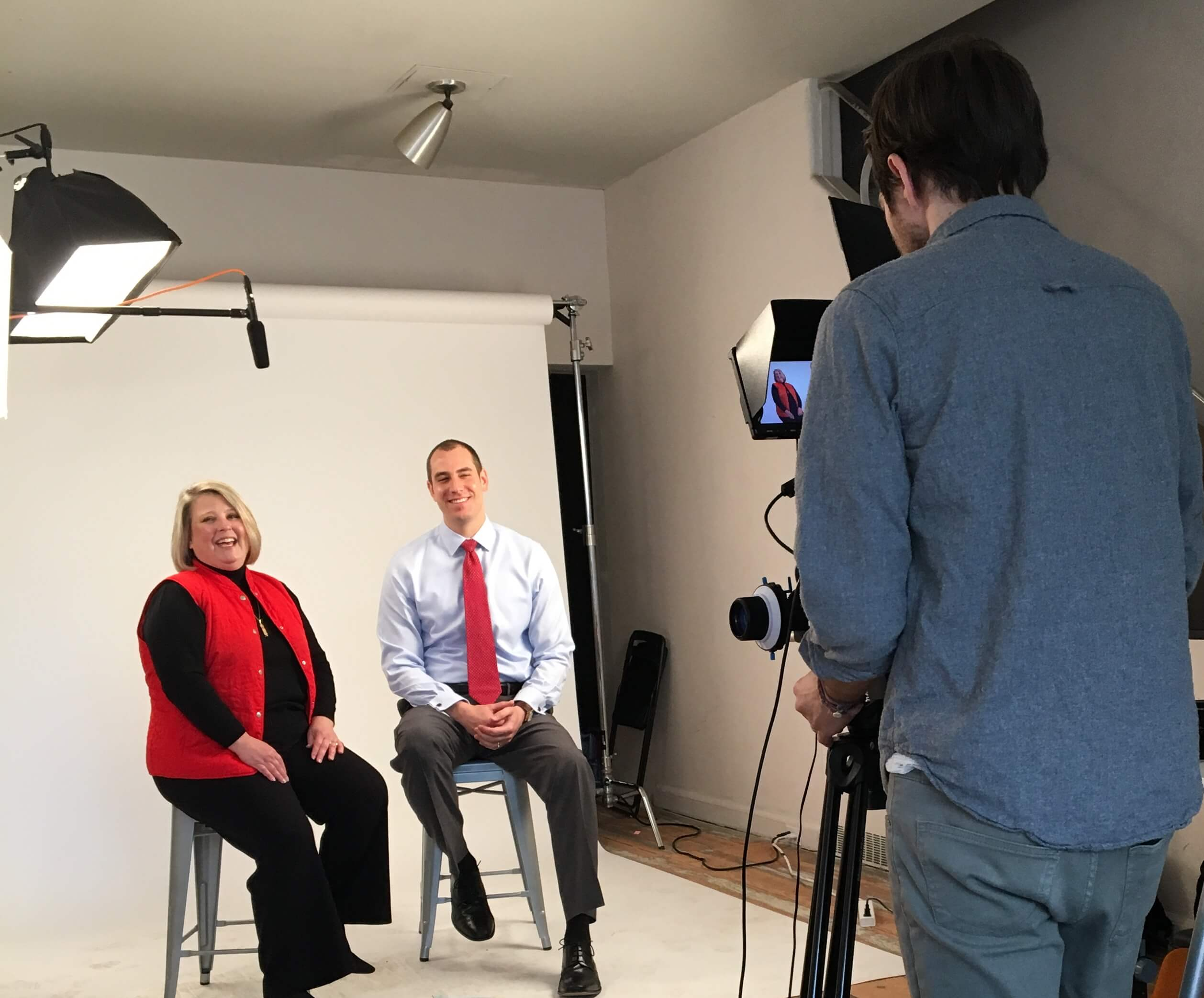Image: Attorneys Leighty and Ruth being filmed for a video