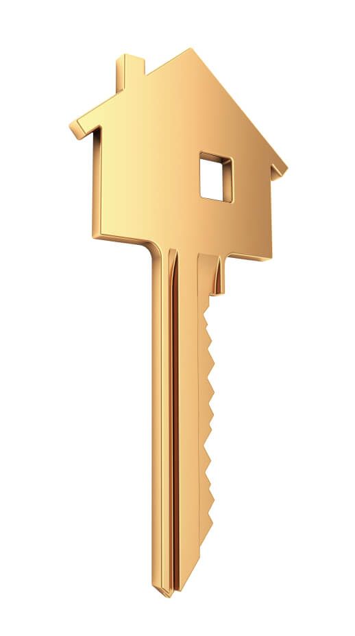 Image: a key in the shape of a house