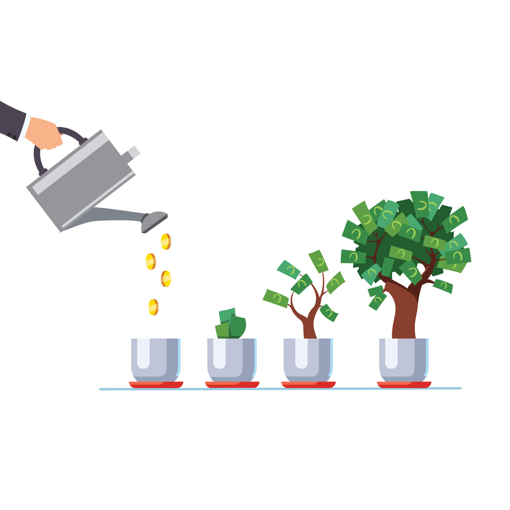 Image: Hand with watering can pouring golden coins over money trees