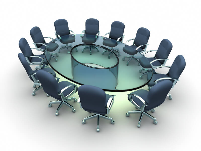 Image: glass circular conference room table with chairs