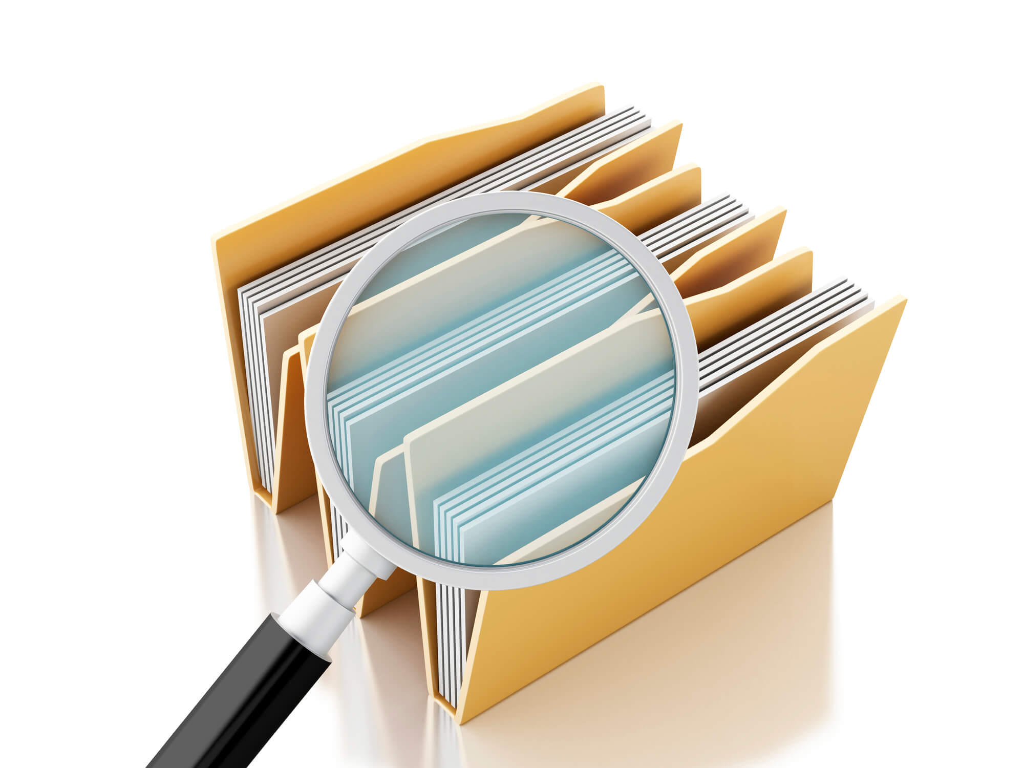 Image: magnifying glass and files in folders