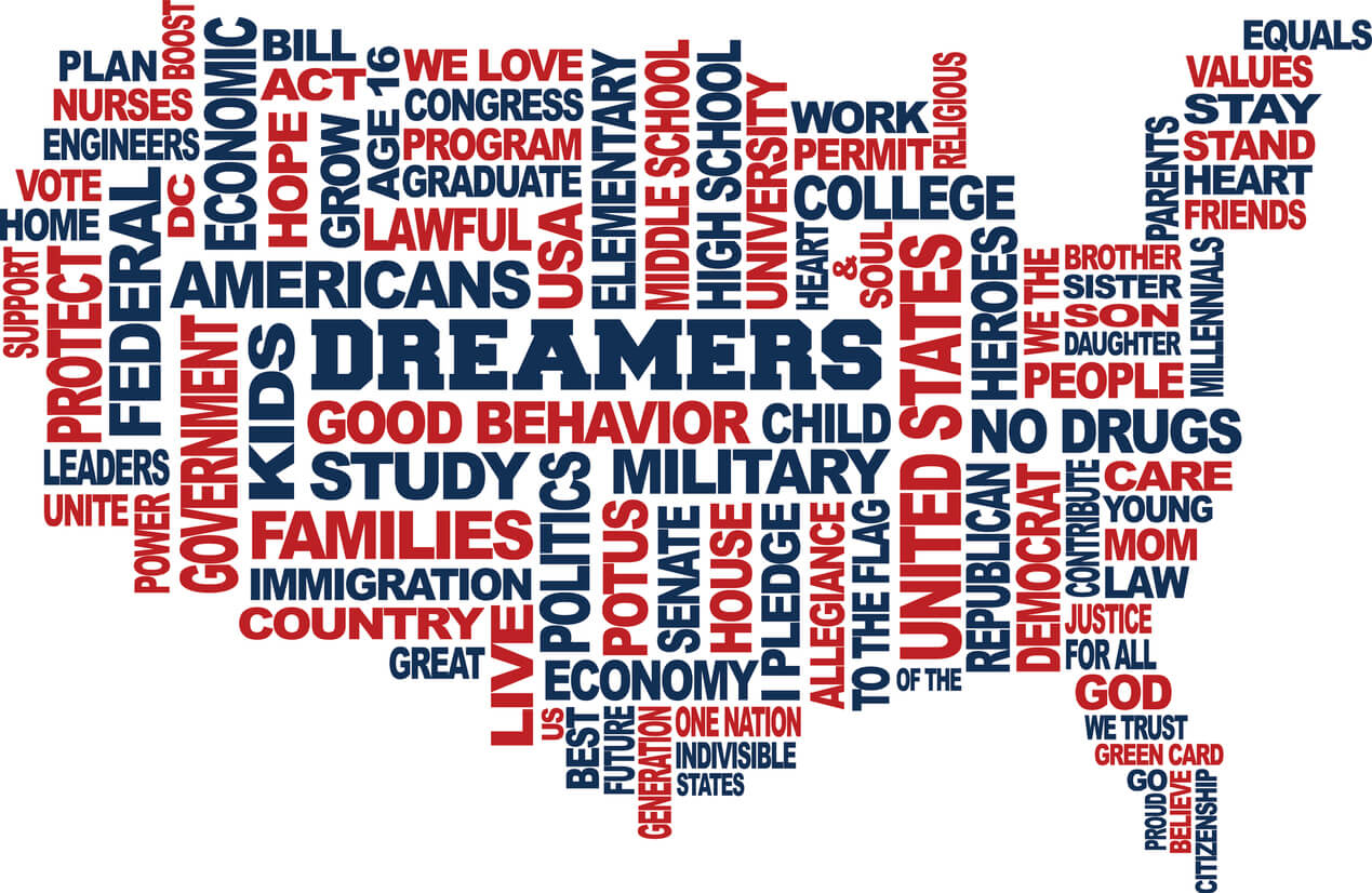 Image: USA map of Dreamers words