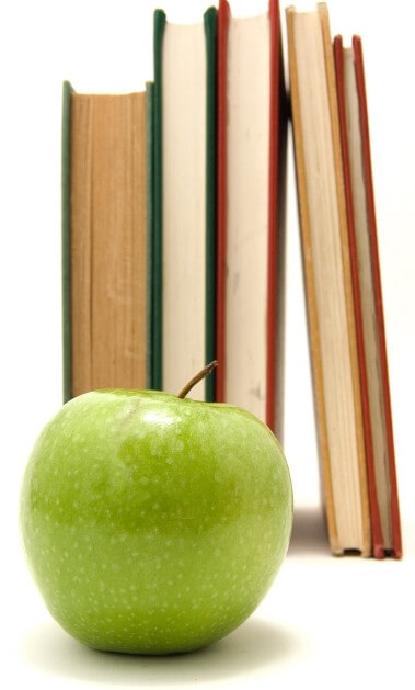 Image: books and an apple